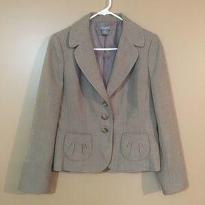 Ann Taylor Blazer Jacket Tan Brown Size 8 Petite